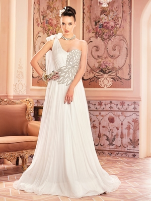 Khwaab Gorgeous One Shoulder Tie Wedding or Partywear Embroidered Stitched Gown