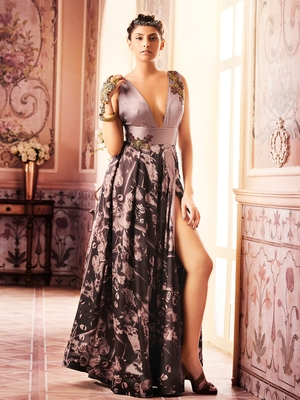Khwaab Rosy Brown Princess Cut Pleated Evening Partywear Embroidered Stitched Gown