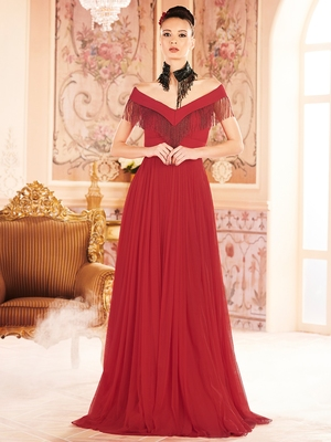 Khwaab Red Cold Shoulder Fringe Prom Partywear Embroidered Stitched Gown