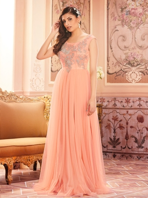 Khwaab Peach Sleeveless Partywear Embroidered Stitched Ball Gown