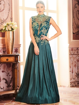 Khwaab Transparent Box Folded Prom Partywear Embroidered Stitched Gown