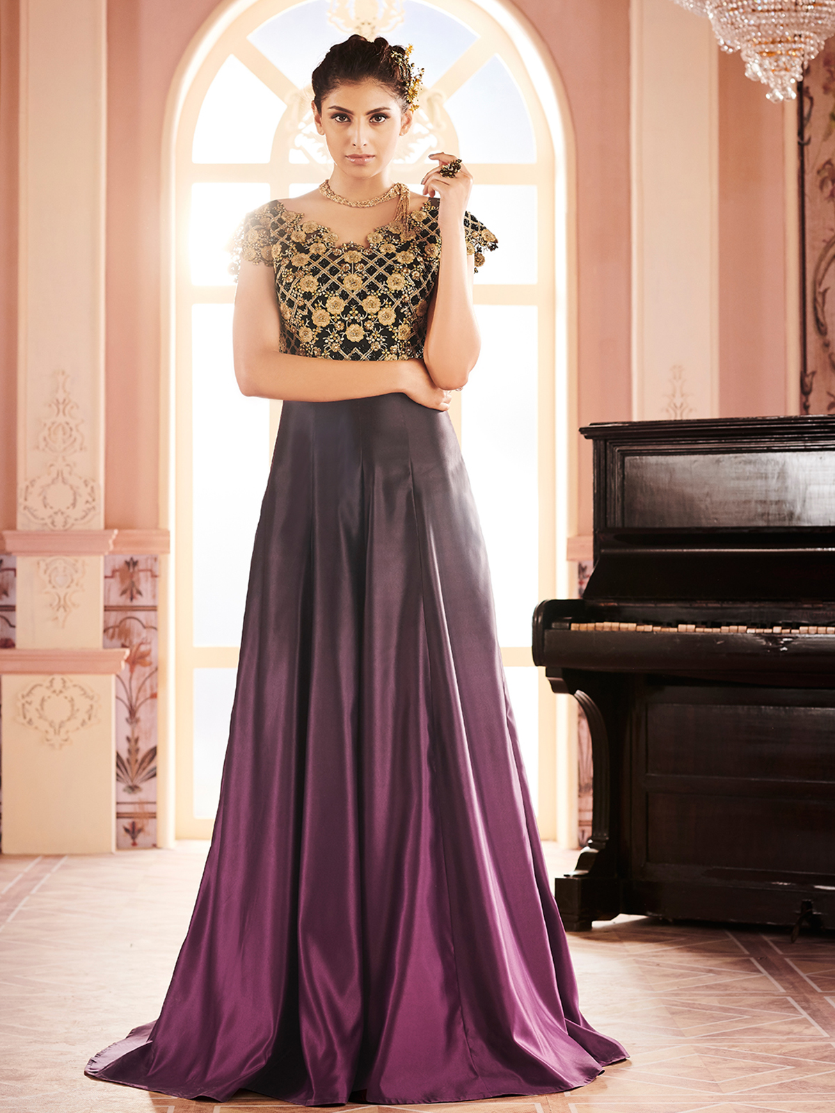 Buy Khwaab Black Purple Ombre Embroidered Stitched Gown Online