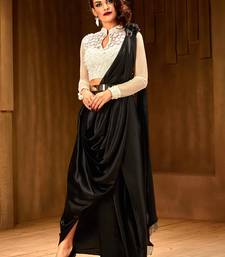 Buy Khwaab Black and White satin stone Work designer saree with Stitched Blouse women-ethnic-wear online