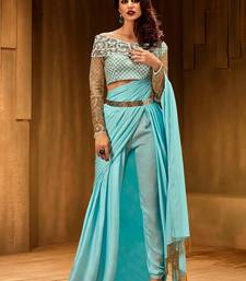 Buy Khwaab sky blue Satin Zari work with Net  designer saree with Stitched Blouse pre-stitched-saree online