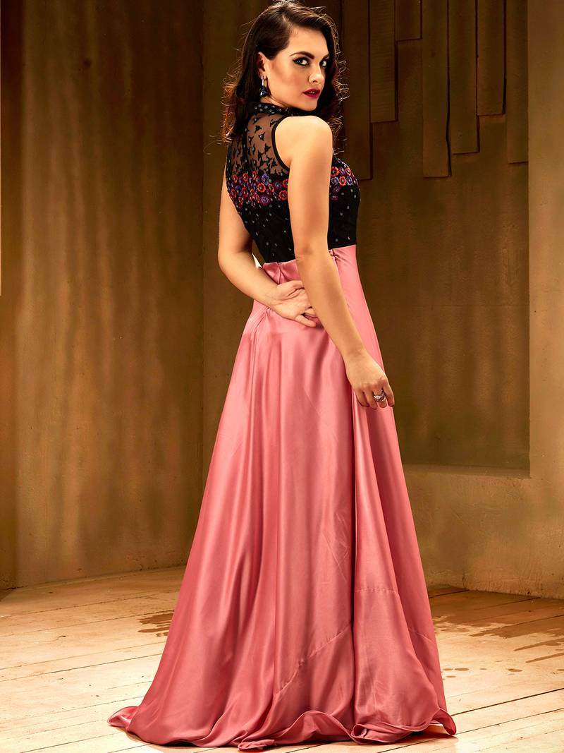 Khwaab Rose pink satin partywear Embroidered Stitched Gown - Khwaab ... 6b7f6c1ef