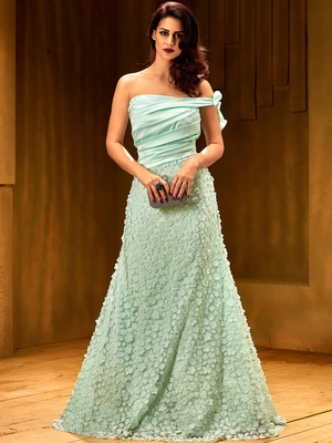 Khwaab Light turquoise satin partywear Embroidered Stitched Gown