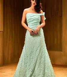 6a519ba5ab88 Khwaab Light turquoise satin partywear Embroidered Stitched Gown