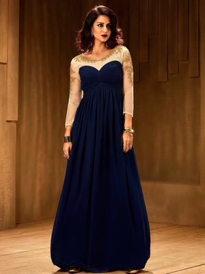Khwaab Navy blue net fabric partywear Embroidered Stitched Gown