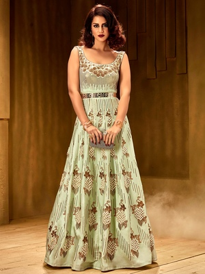 Khwaab Magic mint  brezza satin partywear Embroidered Stitched Gown