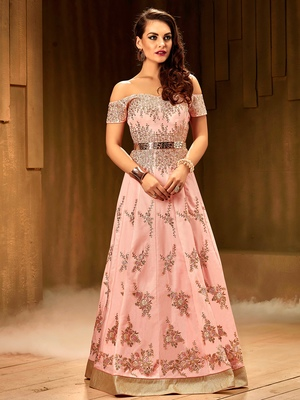 Khwaab Blush pink creta fabric Partywear Stitched Gown