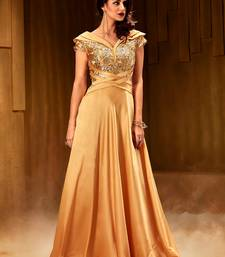 Khwaab Golden sea net fabric Partywear Embroidered Stitched Gown