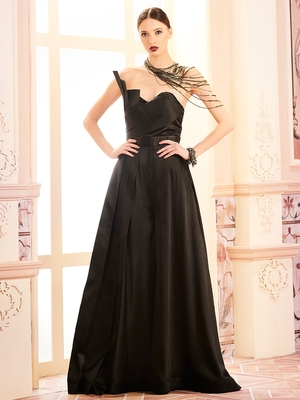 Khwaab Black lycra fabric Partywear Embroidered Stitched Gown