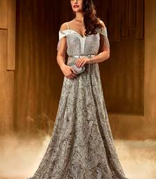 Khwaab Silver premium net fabric Partywear Embroidered Stitched Gown