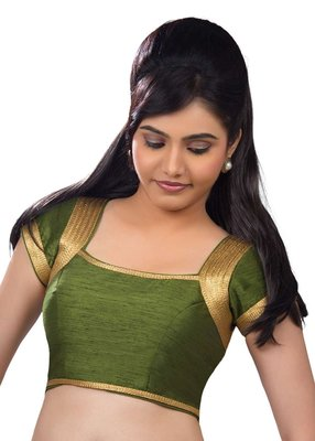 green banglore silk unstiched blouse