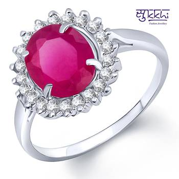 Sukkhi Rodium plated CZ Studded Ruby Ring
