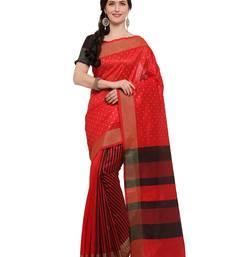 Buy Inddus red cotton blend foil print saree with blouse cotton-saree online