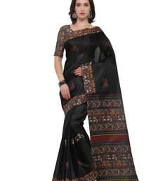 Buy Inddus black art silk printed saree with blouse tissue-saree online