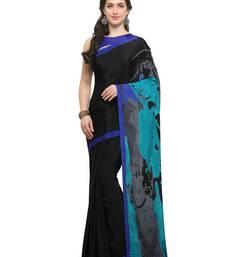Buy Inddus black crepe printed saree with blouse crepe-saree online