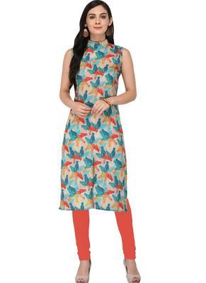 Multicolor Printed Silk Stitched Kurti