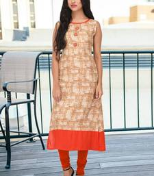 Cream printed rayon stitched kurti