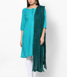 Buy Green Cotton Solid Dupatta with Pom Pom Border stole-and-dupatta online