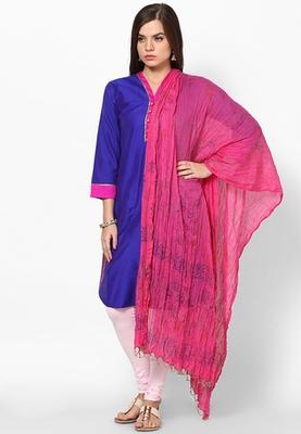 Pink Hand Block Print Cotton Dupatta