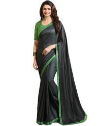 Buy Black plain silk saree with blouse bollywood-saree online