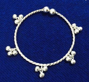 Ethnic India Sterling 925 Silver Jingle Bells Bangle Kada ,Free Size S Xxl