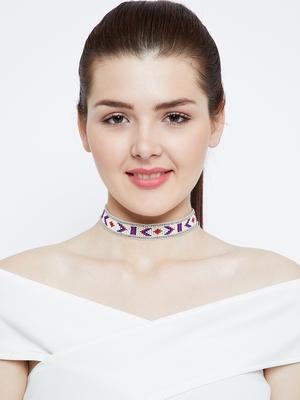 Zerokaata Blue And Red Delicate Geometric Pattern Seed Beads Handmade Jewellery Choker Fashion Necklace