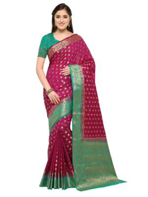 Violet woven art silk saree with blouse