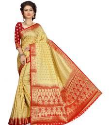 Buy Beige woven banarasi silk saree with blouse durga-puja online
