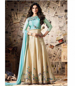 Buy Sky blue embroidered georgette pakistani semi stitched salwar with dupatta
