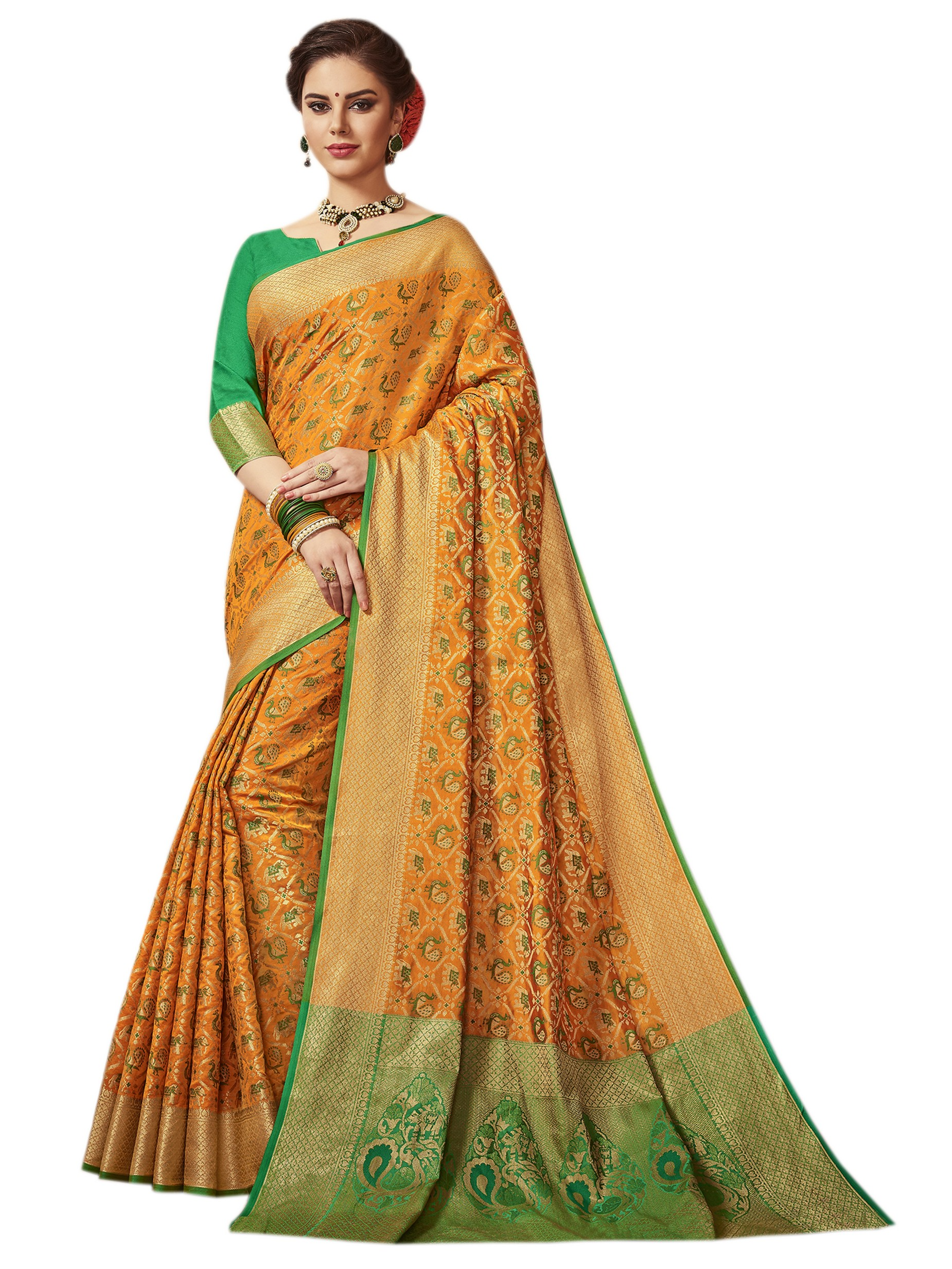 6f839983c6 Orange patola silk saree with blouse - Vastrang - 2637978