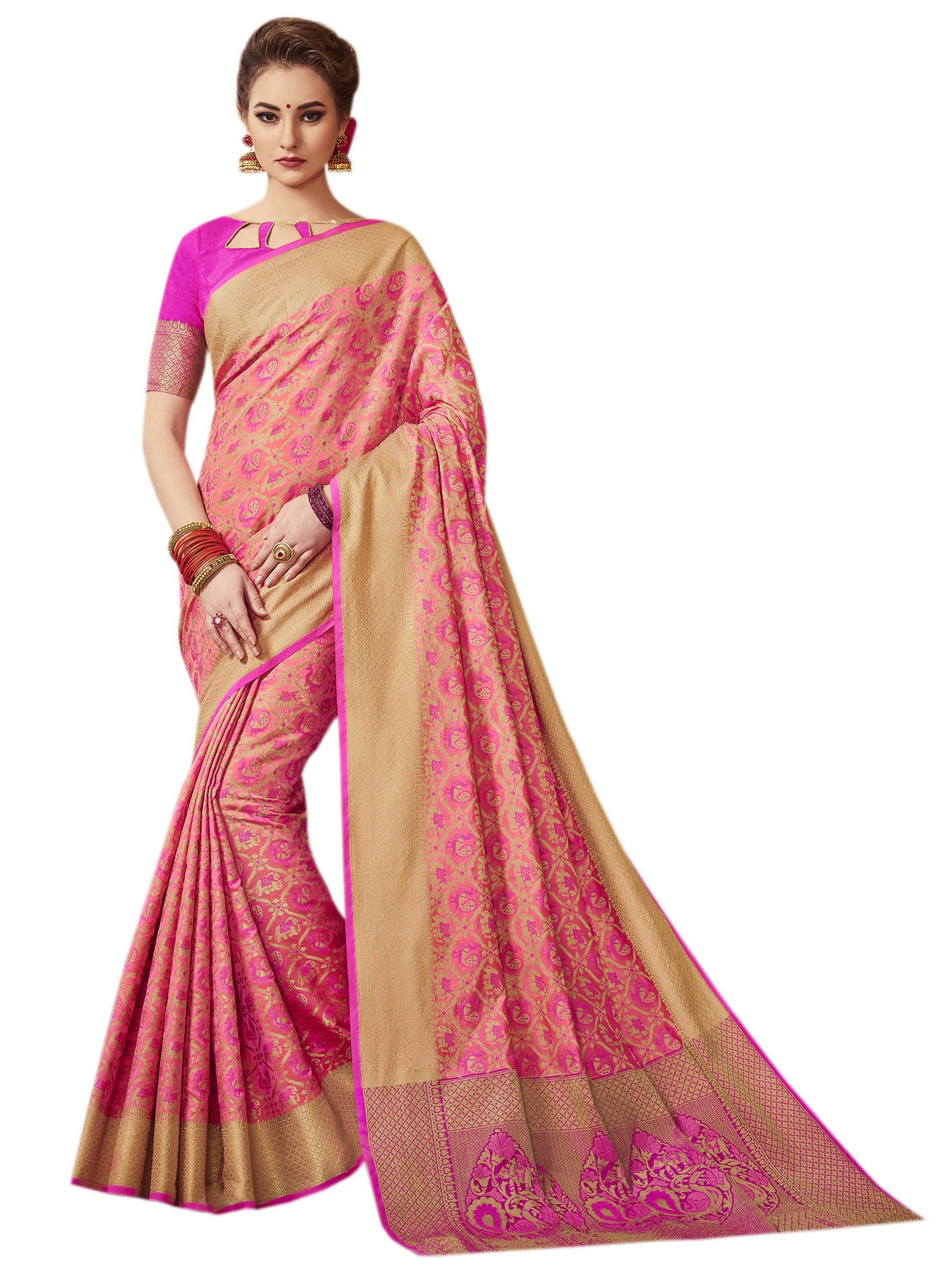 79d1d65032 Pink patola silk saree with blouse - Vastrang - 2637982