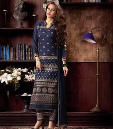 Buy Navy Blue embroidered cotton semi stitched pakistani salwar with dupatta pakistani-salwar-kameez online