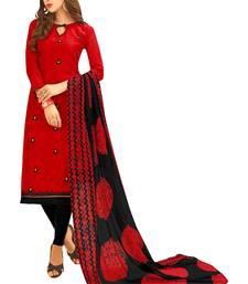 Red embroidered jacquard salwar