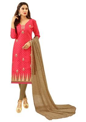 Pink embroidered jacquard salwar