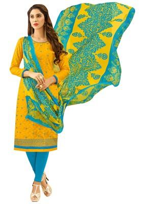 Yellow embroidered jacquard salwar