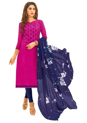 Pink embroidered jacquard salwar