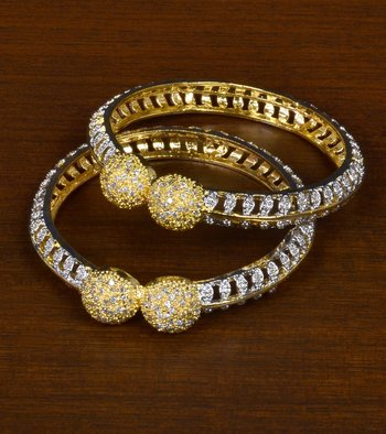 Gold Plated Cubic Zirconia Stone Embellished Designer Bangle Pair