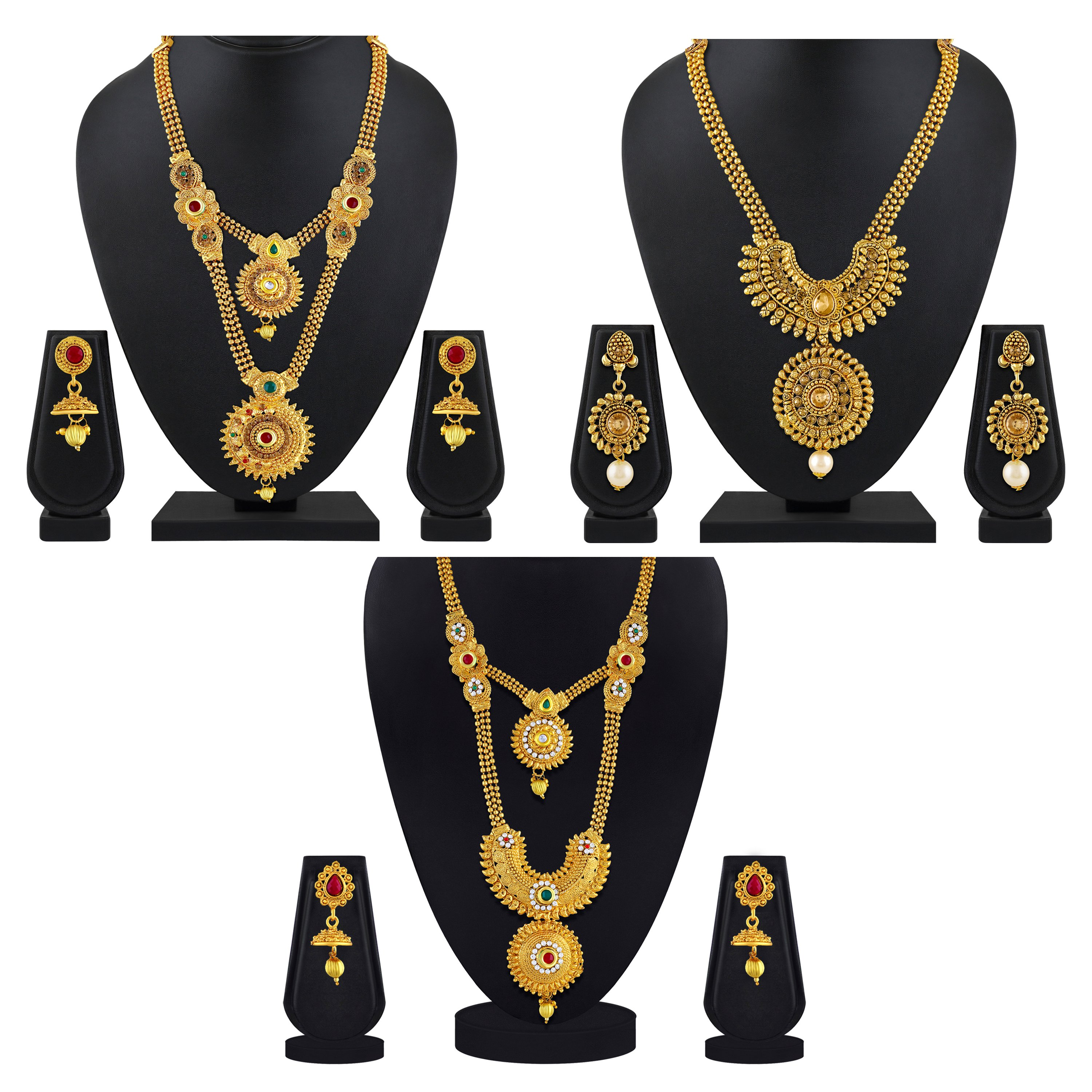 Apara Bridal Pearl Lct Stones Gold Necklace Set Jewellery: Golden Finish To Your Look Indian Wedding Jewellery In