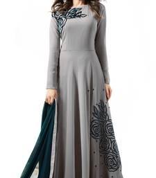 grey embroidered georgette semi stitched salwar kameez with dupatta