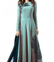 sky blue embroidered georgette semi stitched salwar kameez with dupatta