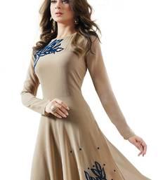 beige embroidered georgette semi stitched salwar kameez with dupatta