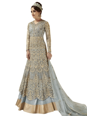 Grey embroidered Net semi stitched Anarkali Suit