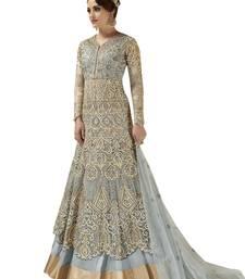 Buy Grey embroidered Net semi stitched Anarkali Suit pakistani-salwar-kameez online