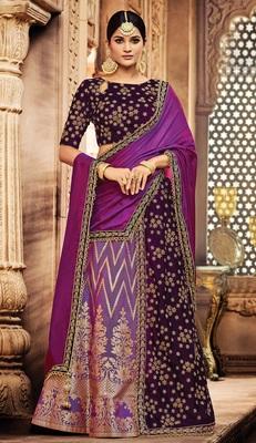 Lavender colored embroidered designer jacquard silk  velvet lahenga choli