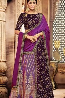 5b0d87b396 Lavender colored embroidered designer jacquard silk velvet lahenga choli