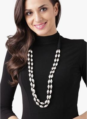 Silver Dholki Beads Two Line Elaichi Mala Necklace