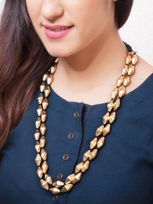 Gold Dholki Beads Double Elaichi Mala Necklace